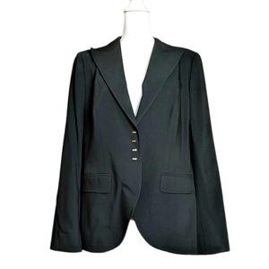 Escada Black & Gold Virgin Wool Suit Blazer sz 46